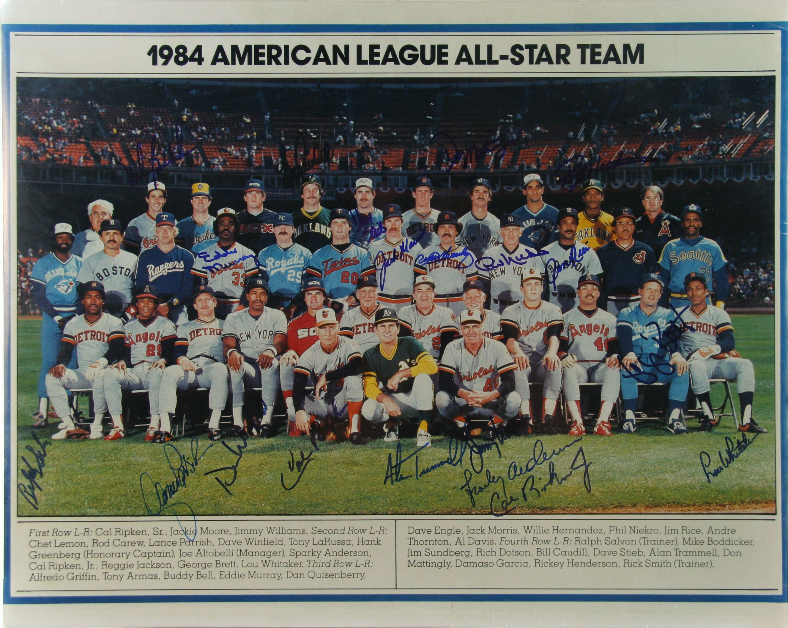 Lot detail 1984 american league all star team for League two table 1984 85