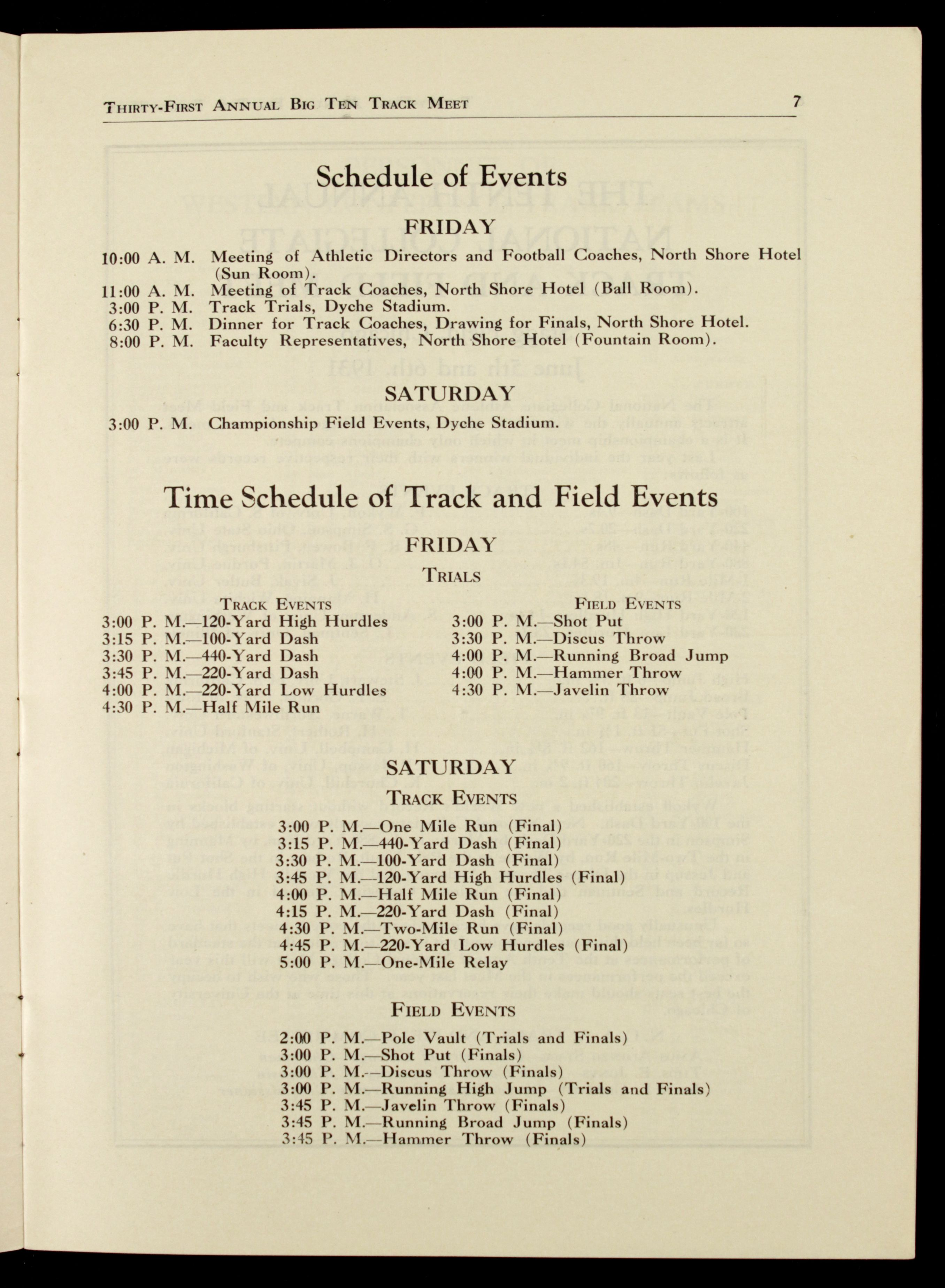swift track and field meet programme