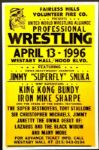 "1995 Wrestling Poster Jimmy ""Superfly"" Snuka King Kong Bundy 17"" x 26"""