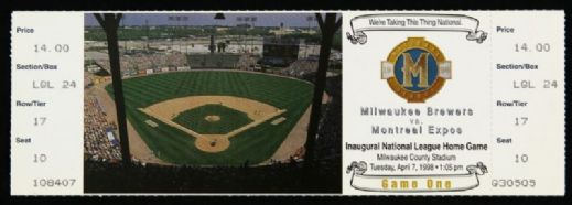 "1998 Milwaukee Brewers ""Were Taking This Thing National"" First Game Full Ticket"