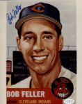 1936-56 Cleveland Indians Bob Feller Autographed 8x10 Color Replica of 53 Topps