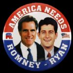 "2012 America Needs Mitt Romney Paul Ryan 3"" Presidential Campaign Pinback Button"