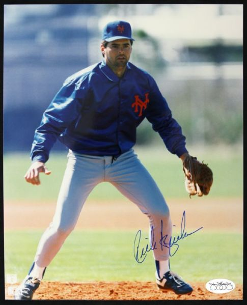 1985-89 Rick Aguilera New York Mets Signed 8 x 10 Color Photo (JSA)