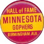 "1977 Minnesota vs. Maryland Hall of Fame Bowl Game 1 3/4"" celluloid pinback"