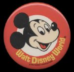 1980s Walt Disney World Promotional Pinback Button Mickey Mouse