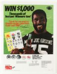 "1981 Mean Joe Greene Steelers Coke Bottle Cap Promotional 18""x24"" Promo Poster"
