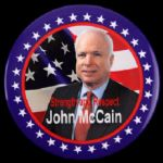 "2008 John McCain Strength & Respect 3"" Presidential Campaign Pinback Button"