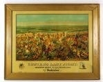 "1952 circa Custers Last Stand 39"" x 49"" Framed Budweiser Lithograph"