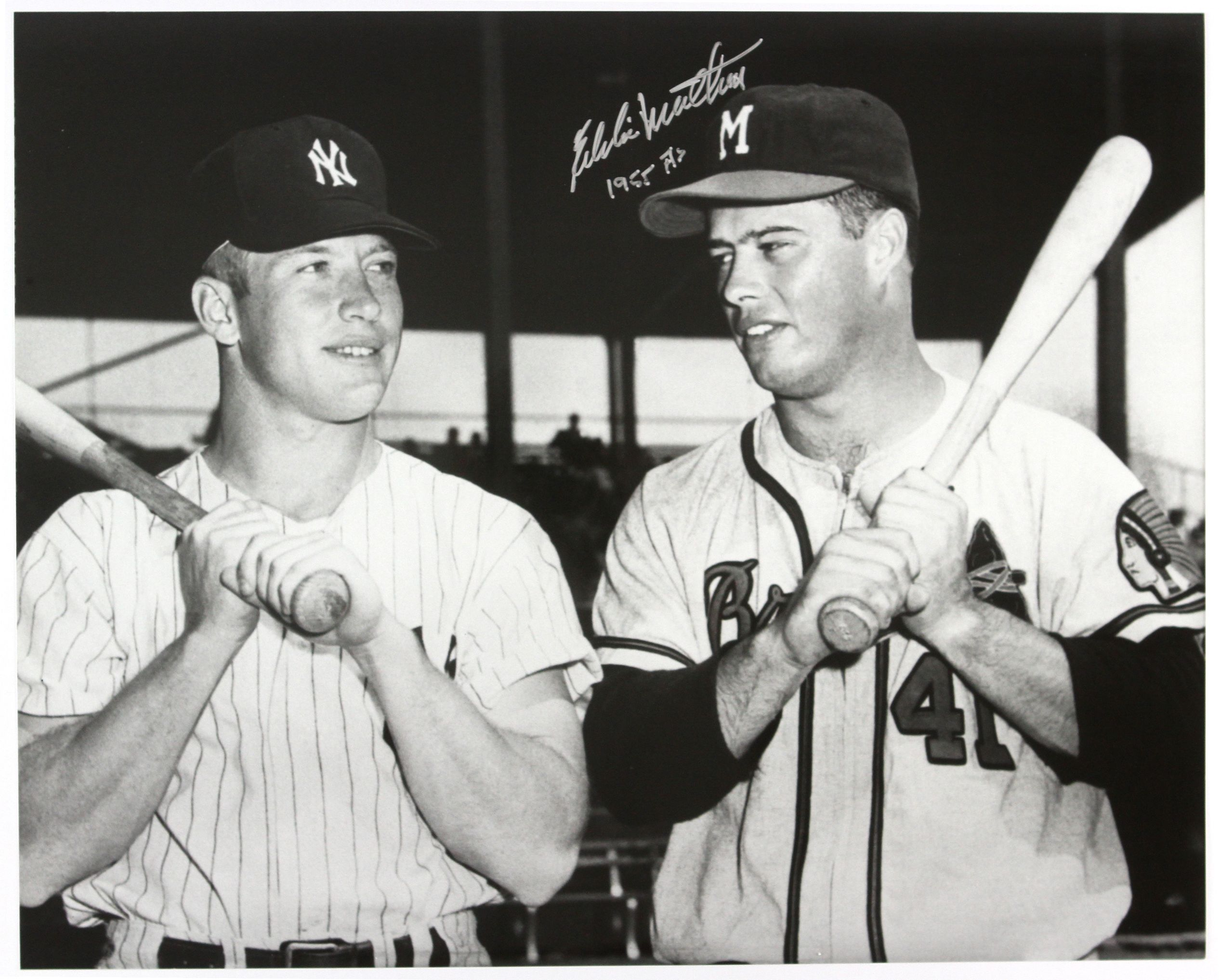 1955 Eddie Mathews Milwaukee Braves W Mickey Mantle At The All Star Game County