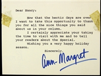 "Ann-Margret 3""x 5"" Typed Card Secretarial Signed"
