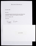 "Beyonce 7""x 10 Typed Letter Secretarial Signed"