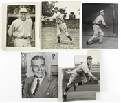 1916-69 Baseball Original Photograph Collection - Lot of 20 w/ AJ Reach, Billy Jurges, Whitey Ford, Dizzy Dean, Chief Bender & More