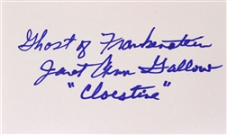 1942 Janet Ann Gallow Ghost of Frankenstein Signed LE 3x5 Index Card (JSA)