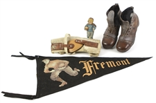 "1910s-20s Football Memorabilia - Lot of 4 w/ Boot Style Youth Football Cleats, Dr. A. Peckham Knee Brace, 23"" Fremont Pennant & Yale Enameline Cutout"