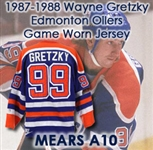 "1987-1988 Wayne Gretzky Edmonton Oilers Game Worn Jersey (MEARS A10) ""Stanley Cup Championship Repeat Season"""