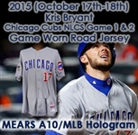 2015 (October 17/18) Kris Bryant Chicago Cubs NLCS Games 1 & 2 Game Worn Road Jersey (MEARS A10/MLB Hologram)