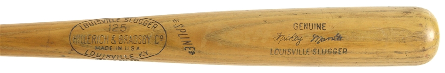 1961-64 Mickey Mantle New York Yankees H&B Louisville Slugger Professional Model Spline Bat (MEARS LOA)