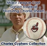 1989 Major League Cast Signed Baseball w/ 14 Signatures Including Charlie Sheen, Wesley Snipes, Bob Uecker & More + Production Handbook (JSA) Charles Cyphers Collection