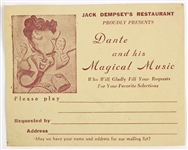 1950s Jack Dempseys Restaurant Dante & His Magical Music Song Request Card