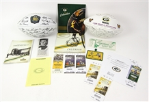 1960s-2000s Green Bay Packers Memorabilia Collection - Lot of 16 w/ Facsimile Signed Footballs, Tickets & More
