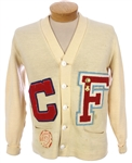 "1950s Dehen Knitting Co. White Wool ""C"" ""F"" Basketball Sweater w/ Charms (MEARS LOA)"