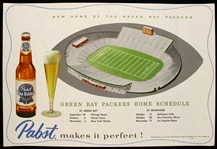 "1957 Green Bay Packers 10"" x 15"" Pabst Blue Ribbon Lambeau Field ""New Home of the Green Bay Packers"" Place Mat"