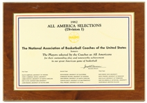 "1982 Terry Cummings DePaul University Signed 14"" x 20"" NABC All America Selections Plaque (JSA)"