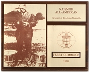 "1982 Terry Cummings DePaul University Signed 12"" x 15"" Naismith All American Plaque (JSA)"