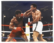 "1980s Muhammad Ali/Cassius Clay Leon Spinks World Heavyweight Champions Signed 16"" x 20"" Photo (JSA)"