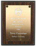 "1982 Terry Cummings DePaul University Signed 7"" x 9"" UPI All America Basketball Team Plaque (JSA)"