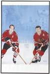 "1983 Bobby Hull Stan Mikita Chicago Blackhawks Signed 24"" x 36"" Framed Hall of Fame Lithograph (JSA) 26/1983"