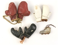 1950s Miniature Boxing Gloves & Football Cleat Charms - Lot of 7