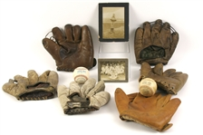 1900s-90s Baseball Memorabilia Collection - Lot of 10 w/ Game Used Baseballs, Store Model Mitts & Vintage Photos (MEARS LOA)