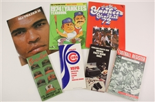 1967-83 Baseball Football Boxing Program Yearbook Press Guide Collection - Lot of 7 w/ Muhammad Ali Joe Frazier III Fight Program & More