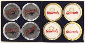 1983-85 New Jersey Generals Tampa Bay Bandits USFL Coaster Sets - Lot of 2 w/ 8 Coasters Total in Original Boxes