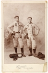 "1898 Storm Lake High School 4""x6"" Cabinet Photo ""Union Suit, nose card, '98 melon football"""
