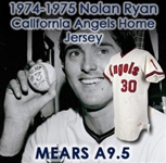 "1974-1975 Nolan Ryan California Angels Game Autographed Worn Home Jersey (MEARS A9.5 / JSA) ""From the Seasons of 3x 300+ K seasons, 2 No Hitters"""