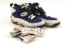 1994 Jerome Bettis Los Angeles Rams Signed Game Worn Nike Turf Shoes & Wilson Gloves (MEARS LOA/JSA)