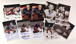 1980s Hockey Signed Photo Collection - Lot of 18 w/ Ed Giacomin, Bill Gadsby & Gilles Villemure (JSA)