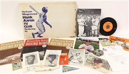 1940s-80s Baseball Boxing Memorabilia Collection - Lot of 18 w/ Willie Mays Signed Card, Hank Aaron Signed Photo, Milwaukee Arena Boxing Programs & More (JSA)