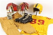 1940s-60s Game Worn Football Equipment - Lot of 5 w/ Sand Knit Jersey, Spalding Helmet, Wilson High Top Cleats & More (MEARS LOA)