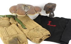 1910s-20s Game Worn Football Equipment - Lot of 4 w/ AG Spalding Sweater, Padded Leather Helmet, Goldmsith Shoulder Pads & More (MEARS LOA)