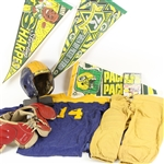 1940s-90s Game Worn Football Equipment & Memorabilia Collection - Lot of 9 w/ Durene Jersey, Norm Van Brocklin Spalding Shoulder Pads, Signed Green Bay Packers Pennants & More (MEARS LOA)