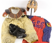 1920s-40s Game Worn Football Equipment - Lot of 5 w/ CPO Fargo Durene Jersey, Wilson F2180 Helmet, Reach 100 Shoulder Pads & More (MEARS LOA)