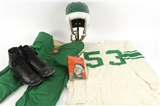 1940s-60s Game Worn Football Equipment - Lot of 4 w/ Lowe & Campbell Durene Jersey, High Top Cleats, Leather Lined Helmet & More (MEARS LOA)