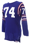 1960s Blue Durene #74 Game Worn Sand Knit Football Jersey (MEARS LOA)