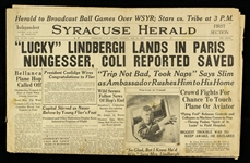 1927 (May 22) Charles Lindbergh First to Complete Trans Atlantic Flight Syracuse Herald Newspaper