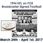 1994 NFL On FOX Inaugural Commentator Multi Signed Wilson The Duke Autograph Panel Football w/ 13 Signatures Including John Madden, Pat Summerall, Terry Bradshaw, Jimmy Johnson & More (JSA)