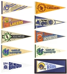 1960s-90s Baseball Football Basketball Full Size Pennant Collection - Lot of 40 w/ Dream Team Caricature, Super Bowls, Bowl Games & More