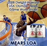 2008 Dwight Howard Team USA Game Worn Adidas Olympic Sneakers (MEARS LOA)